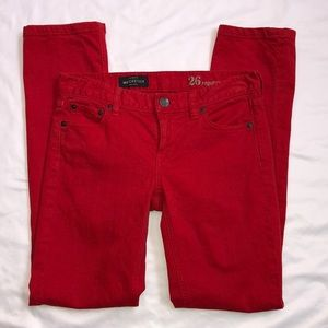 J. Crew Matchstick Red Skinny Jeans